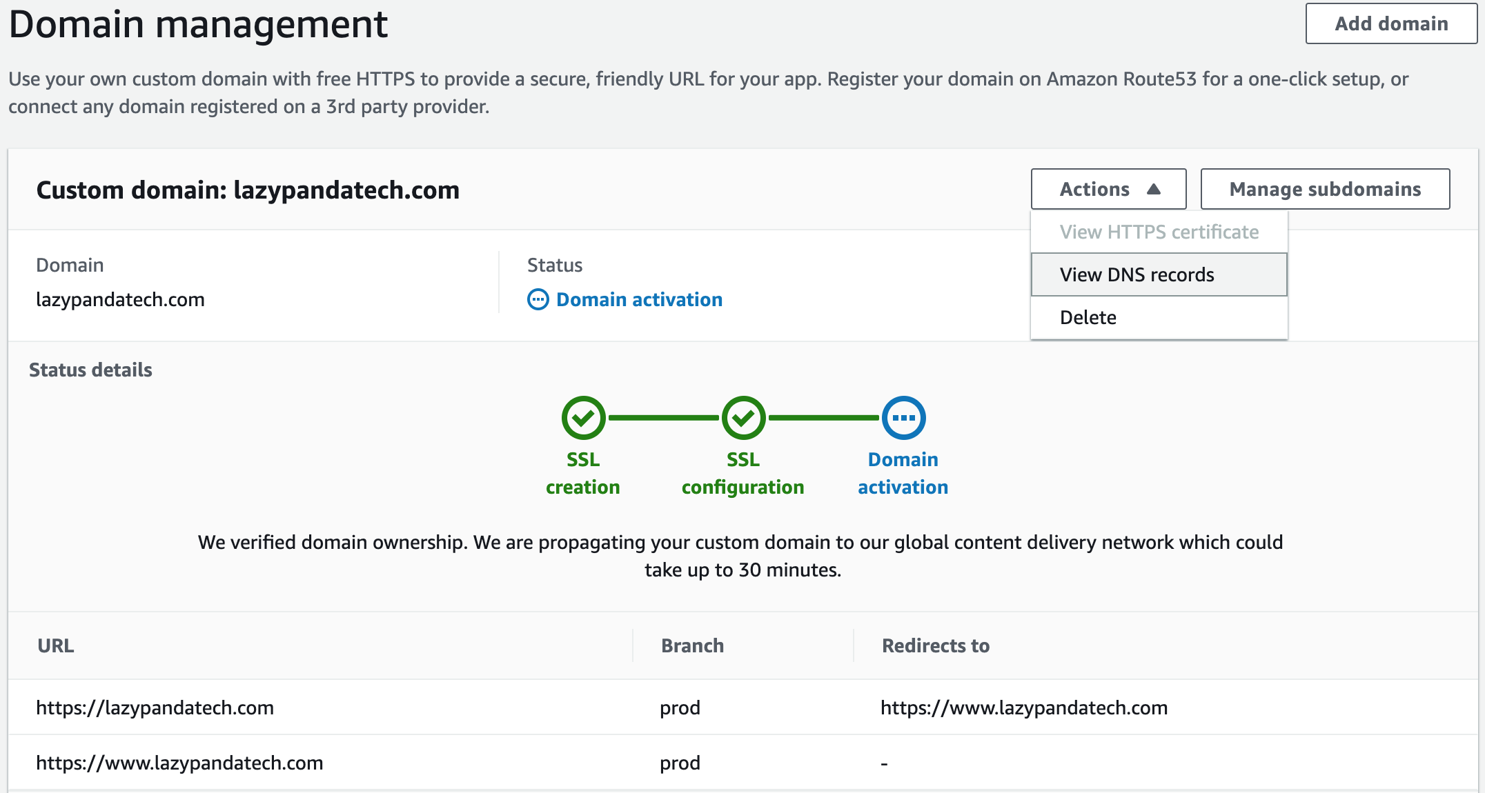 aws amplify custom domain DNS and CNAME